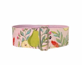 Softness collar (dog collar, greyhound, martingale, pears fruits flower pastel soft pink delicate refined wide handmade cotton satin)