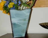 Vase Hand Made White Wispy Stained Glass Three Sided Vase Perfect for Mother 39 s Day, Wedding Centerpiece or Gift Anniversary Birthday