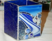 Stained Glass Candle Holder or Vase, Beautiful Blues with White quot Waterfall 2 quot , Handmade and In Stock, great gift idea