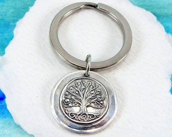 TREE OF LIFE, Silver Keychain, Inspirational Gift, Custom Engraving, Family Symbol