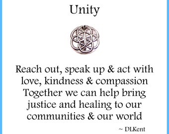 UNITY, Silver Seed of Life Charm, Inspirational Jewelry, Custom Engraving