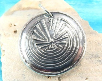 5b74283302f0 Extra Large Silver Man in the Maze Pendant, Inspirational Jewelry, Custom  Engraving, Native American Symbol, JOURNEY