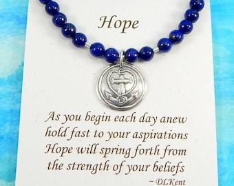 Anchor Bracelet, Lapis Bracelet, Inspirational Jewelry, Personalize, Hope Bracelet, Nautical Jewelry, Gemstone Bracelet, Journey Bracelet