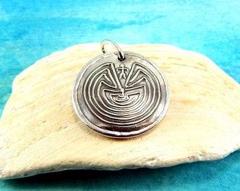 250ed55a313c Medium Silver Man in the Maze Charm, Inspirational Jewelry, Custom  Engraving, Native American Symbol, JOURNEY