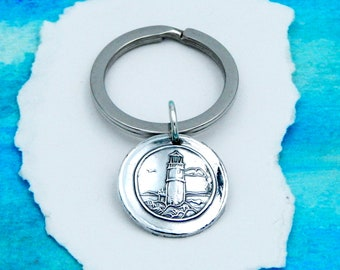 DAD'S LOVE, Silver Key Ring, Inspirational Gift, Custom Engraving