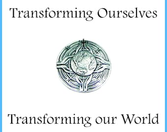 TRANSFORMING OURSELVES, Transforming our World, Extra Large Labyrinth Pendant, Inspirational Jewelry, Custom Engraving