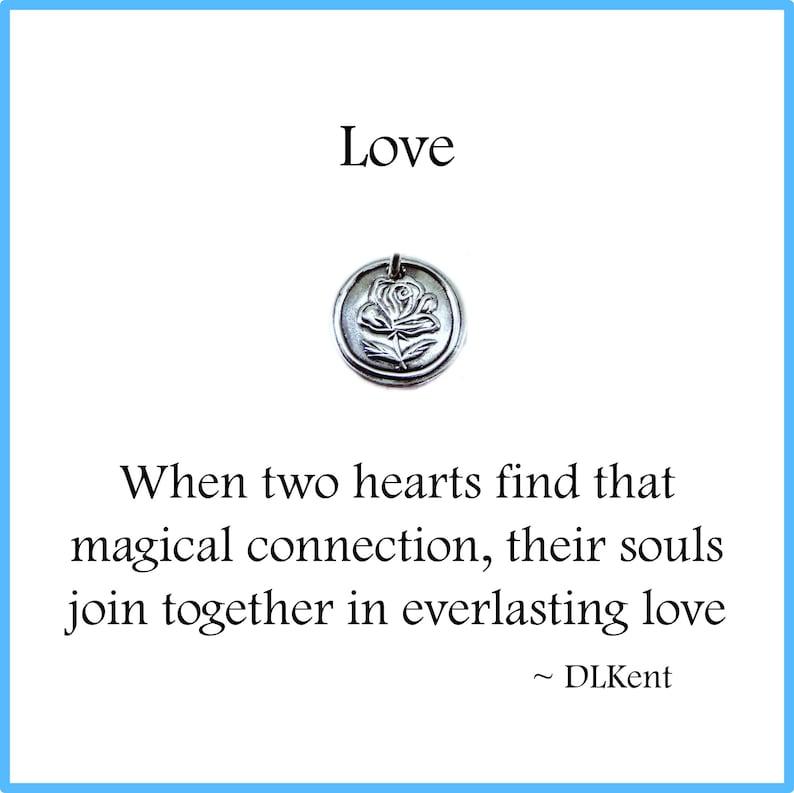LOVE Tiny Silver Rose Charm Inspirational Jewelry Custom image 0