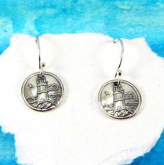 Silver Lighthouse Earrings Nautical earrings Lighthouse Earrings Guiding Light Sterling Silver Plated Earrings Lighthouse Jewelry