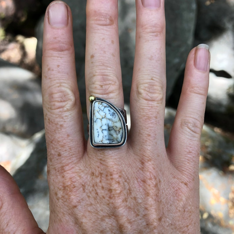 Dendritic Agate and Reticulated Sterling Ring
