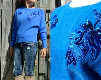 Vintage 80s 90s Cobalt Sweater Jumper - Batwing Sequin Applique Fuzzy Angora - Size Small - FREE SHIPPING