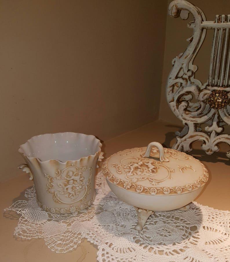 Vintage Lefton Porcelain Bisque Candy Dish..Trinket Holder..Bathroom Decor..Pedestal Candy Dish..Cherub design..Estate Sale Find.Shabby Chic