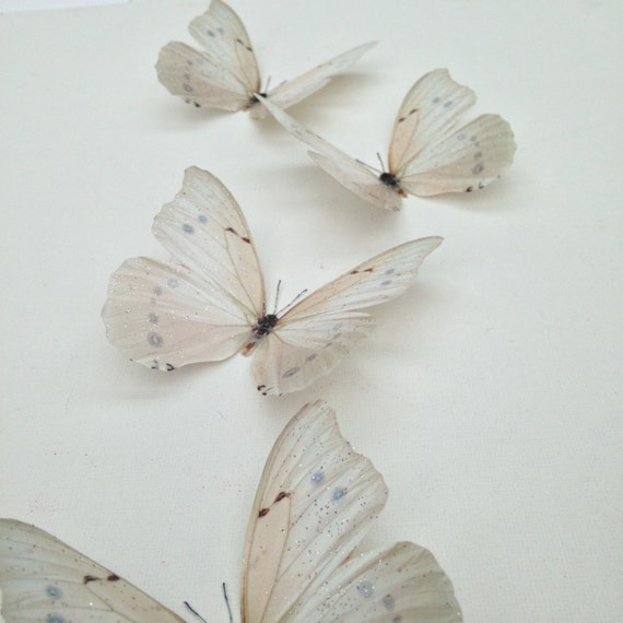 6 Luxury Ivory Cream Flying 3D Butterflies Bedroom Butterfly Accessories