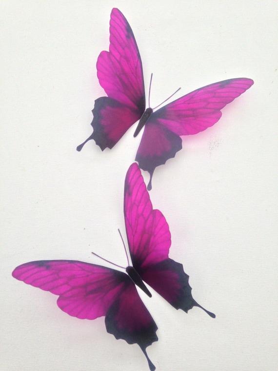4 Dark Fuschia 3D Butterflies Home Accessories Bedroom Furniture Bathroom  Mirror Decoration