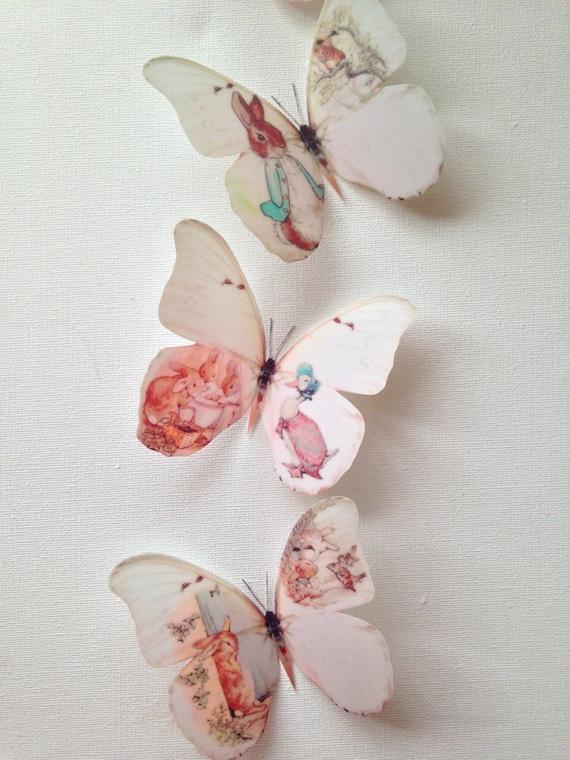 4 Beatrix Potter Peter Rabbit 3D Wall Sticker Butterflies Bedroom  Accessories Nursery Display Cabinet