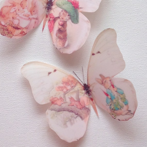 4 Beatrix Potter Peter Rabbit 3D Wall Sticker Butterflies Bedroom  Accessories