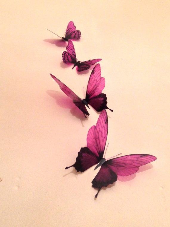 4 Luxury Amazing In Flight Burgundy Butterflies 3d