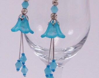 Blue Bell Flower Earrings, Lucite Flowers, Dangle Earrings, Ice Blue Bicones, Spring, Summer