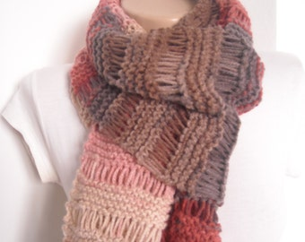 Chunky knit long multicolor scarf ,drop stitch scarf, chunky knitted scarf ,shades of red and brown knitted cowl , chunky  cowl