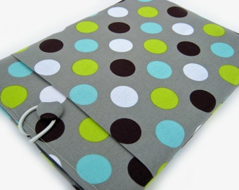 Macbook Pro Sleeve, Macbook Pro Case, 13 inch Macbook Pro Cover, 13 inch Macbook Pro Case, Laptop Sleeve, Green and Blue Polka Dots