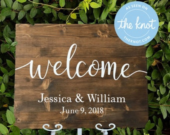 Custom Wedding Reception Welcome Sign // Personalized Wood Wedding Plaque