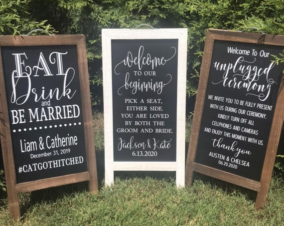 Custom Rustic Easel (Sandwich Style) Signs OR Vinyl Only Options | Wedding Welcome | Party | Eat Drink | Unplugged Ceremony | Pick a Seat