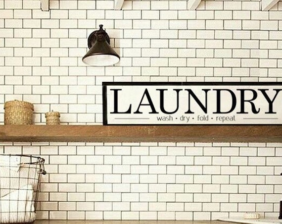 LAUNDRY Room Sign | Mudroom Decor | Canvas Farmhouse Wood Trim Decor