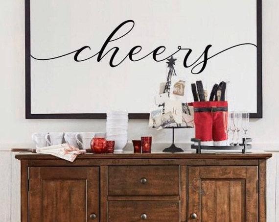 Cheers Farmhouse Decor Sign | Optional Trim Colors Available