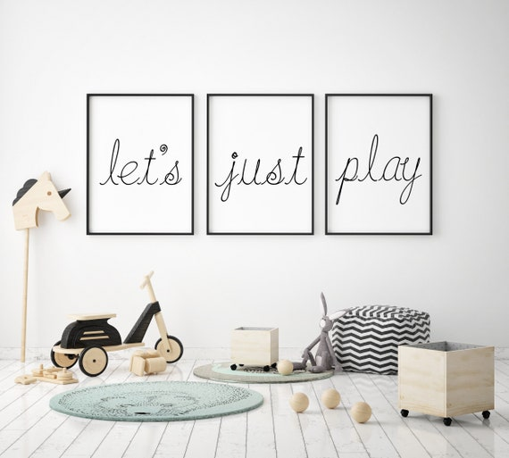Set of 3 Canvas Prints | Let's Just Play | Playroom Decor | Nursery Signs | Optional Wood Trim Available