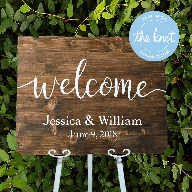 Custom Wedding Reception Welcome Sign Personalized Wood Wedding