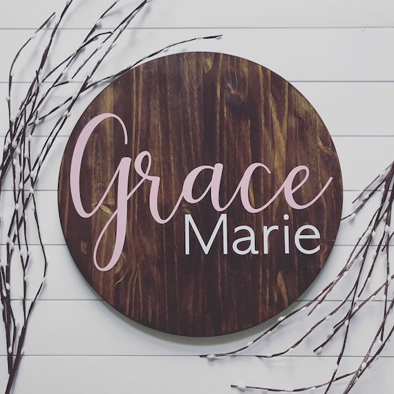 Round Name Signs | Nursery Sign | Baby Plaque | Child's Room Decor