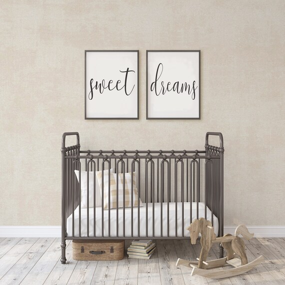Set of 2 Canvas Prints | Sweet Dreams Sign | Optional Wood Trim Available