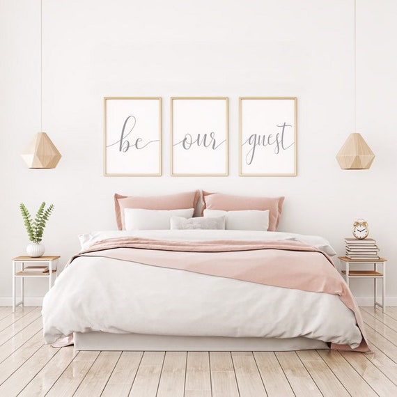 Set of 3 Framed Canvas Prints | Be Our Guest