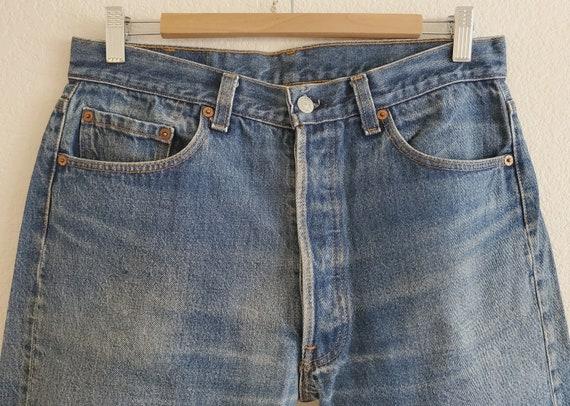 Vintage 501 Levis Jeans 35x34 Distressed Blue Jea… - image 4