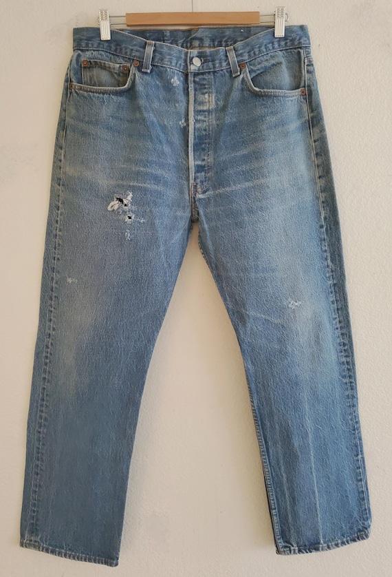 Vintage 501 Levis Jeans 38x33 Distressed Jeans Mad
