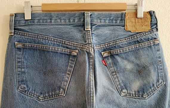 Vintage 501 Levis Jeans 36x34 Distressed Blue Jea… - image 7