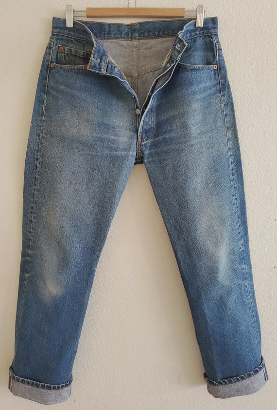 Vintage 501 Levis Jeans 35x34 Distressed Blue Jea… - image 2
