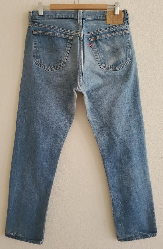 Vintage 501 Levis Jeans 36x34 Distressed Blue Jea… - image 6