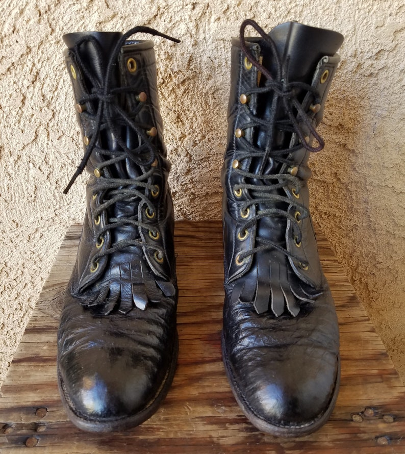 4263fae1c5d81 Ostrich Granny Lace Up Black Boots Justin Roper Boots Size 8 Barn Combat  Boots