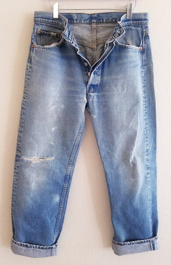 Vintage 501 Levis Jeans 34x31 Made in USA Thrashed
