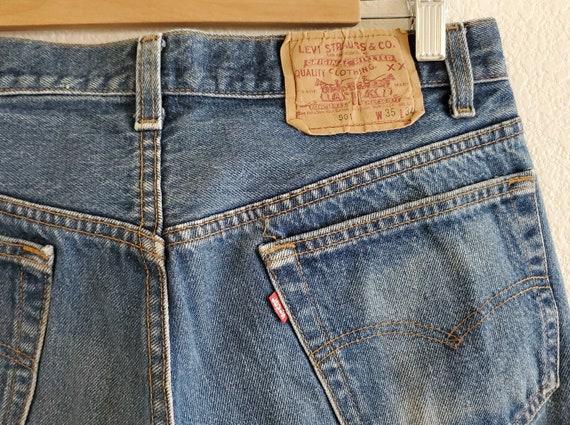 Vintage 501 Levis Jeans 35x34 Distressed Blue Jea… - image 8