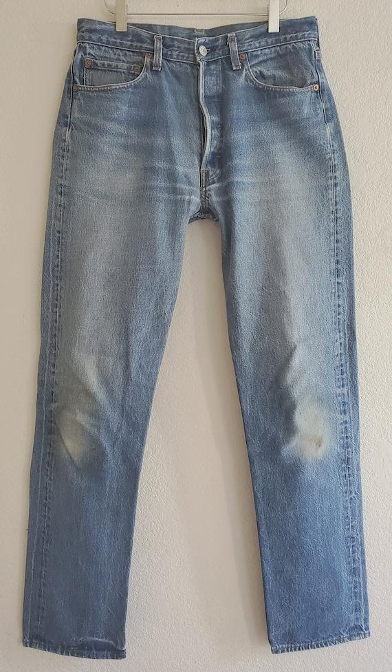 Vintage 501 Levis Jeans 34x38 Distressed Blue Jean