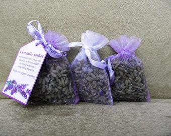 3x small organic lavender sachets bags in organza bags, hand-made - gift present in white and purple/lavender colour color