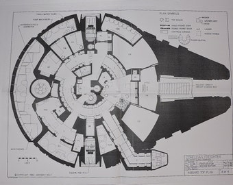 1977-MILLENNIUM FALCON Cockpit Star Wars Vintage Blueprint