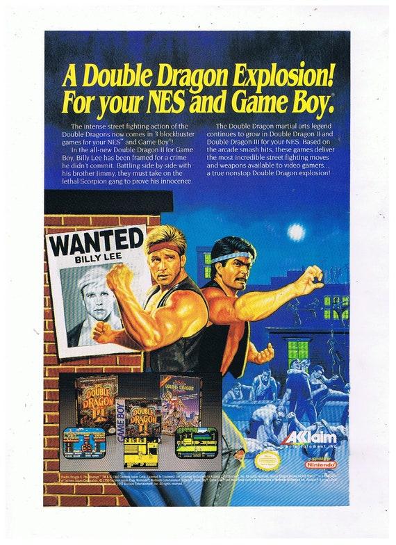 1991 Double Dragon Nintendo Nes Game Boy Vintage Video Game Etsy