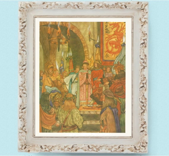 1984 Wood Elves Elven King The Hobbit Print Book Illustration