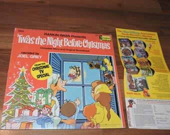 "12"" Twas The Night Before Christmas Disneyland Vintage Music LP Children 1976"