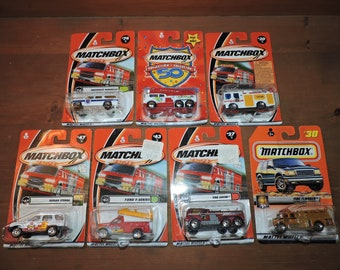 7x Firetrucks & Vehicles Vintage Matchbox Sealed Die-Cast Toy Car Lot #F1