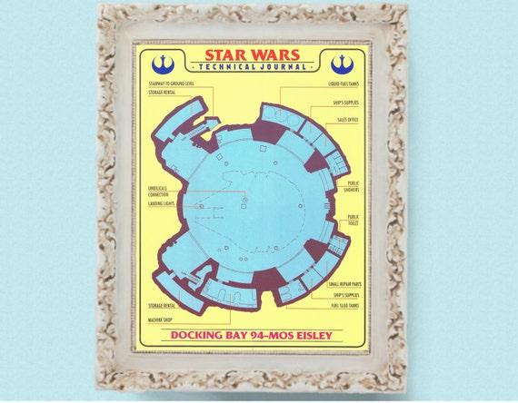 Star Wars Mos Eisley Docking Bay Technical Drawing Blueprint Etsy