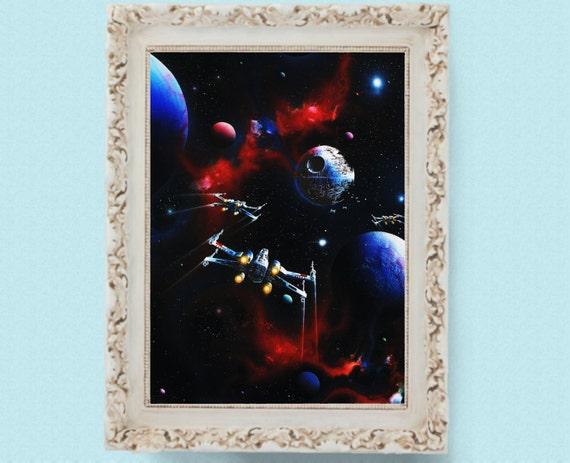 Grand Moff Tarkin Vintage Star Wars Illustration  Painting Poster Print 8.5x12