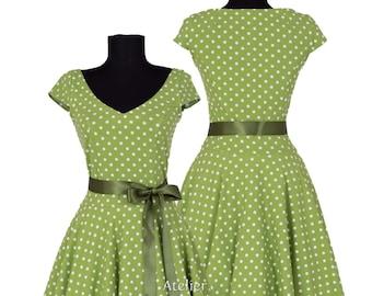 Custom made & handmade-jersey petticoat dress Klara lime green/Olive